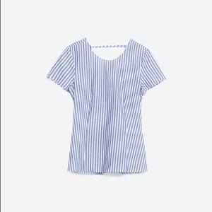 Zara Striped Twisted Knot Cut Out Back Top
